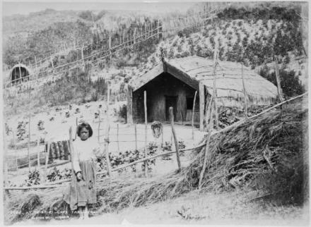 Young Maori girl at Te Ariki Pa. Shows her standing alongside a vegetable garden and a whare. Photograph taken in the 1880s by the Burton Brothers.