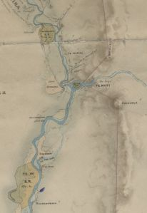 Portion of J.T. Stewart's 1859 map, showing Otangaki at to the west of the confluence of the Pohangina and Manawatu Rivers.