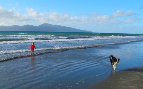 A view of the beach at Raumati South, looking north-west towards Kapiti Island