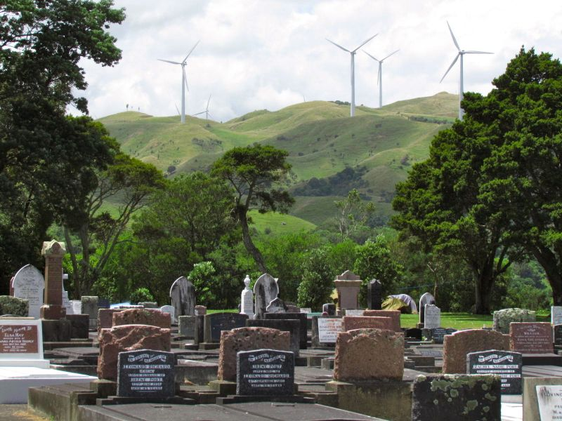 Graveyard and windmills