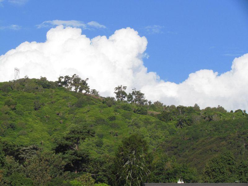 Views of Kapiti 9: clouds over bush-clad hills