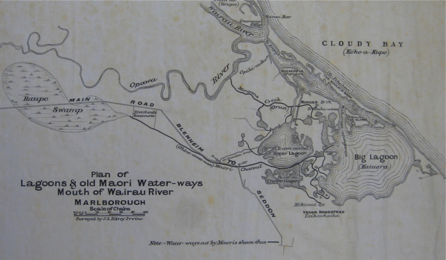 Plan of lagoons and channels dug by Maori at the mouth of the Wairau River, drawn by J.L. D'Arcey Irvine. Alexander Turnbull Library, MapColl 832.2gmtb [pre-1840] Acc. 120